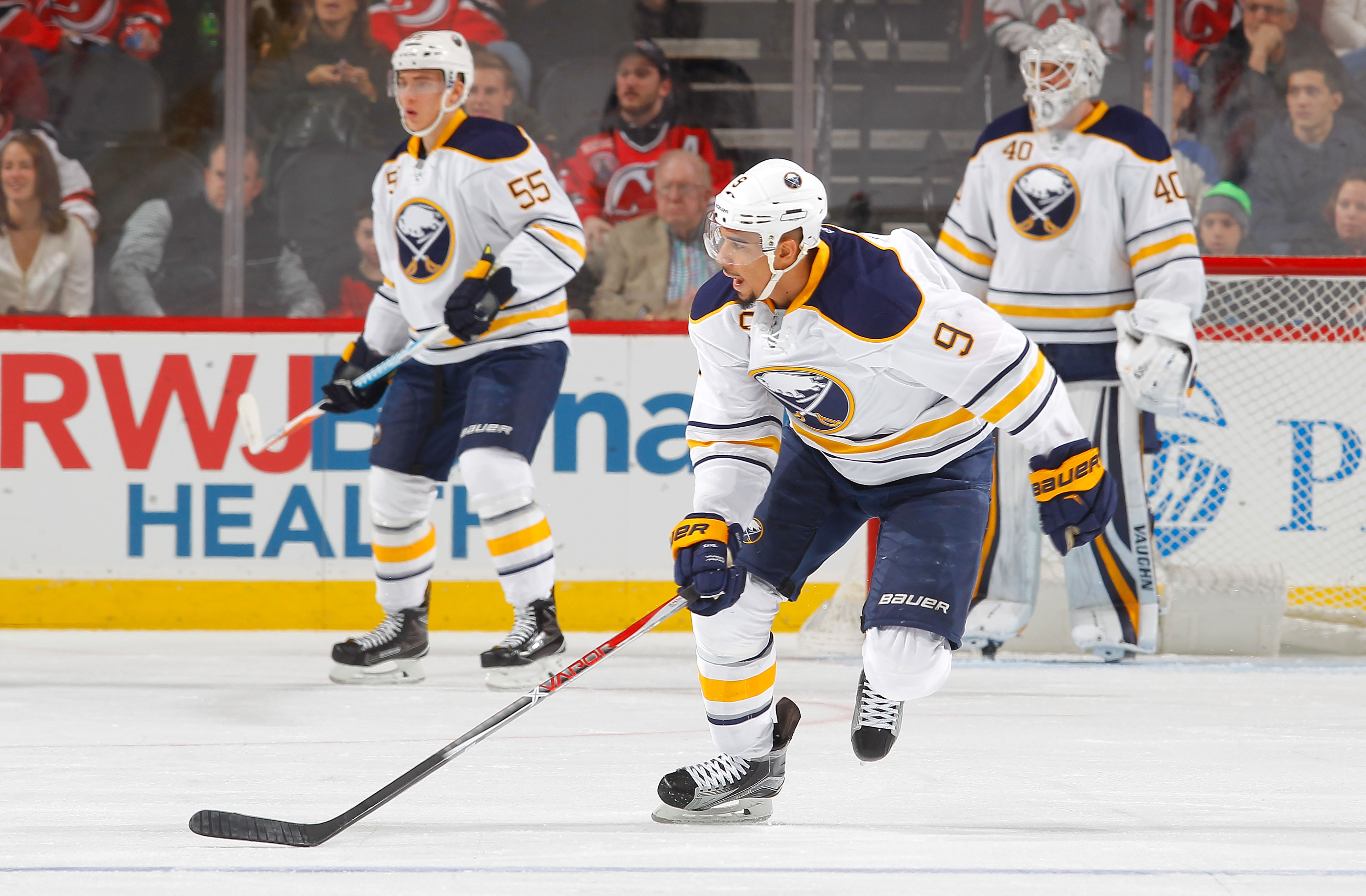 Tim Murray wasn't ready to deal Evander Kane (9), but he's not sure about a long-term future. (Getty Images)