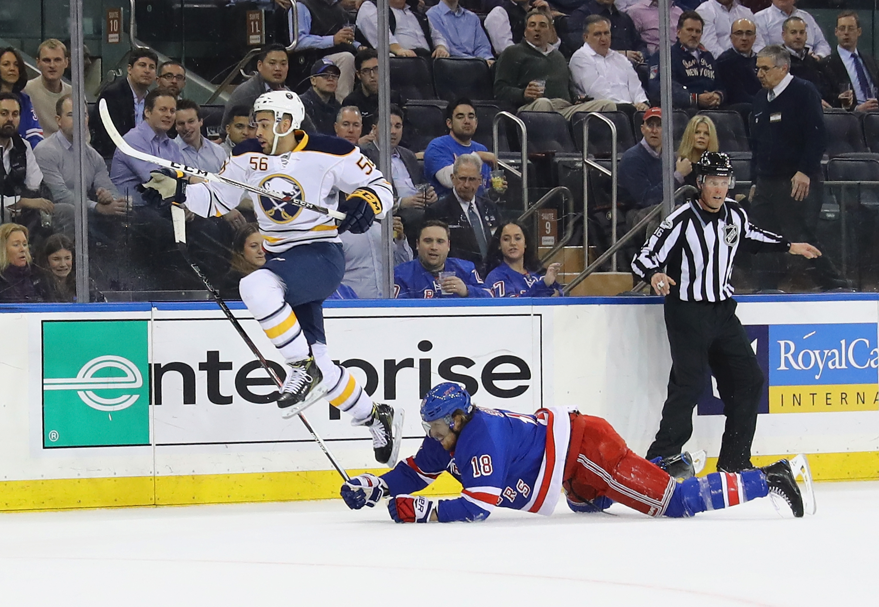 Justin Bailey has been using his speed against the Rangers Marc Staal and other defenders. (Getty Images)