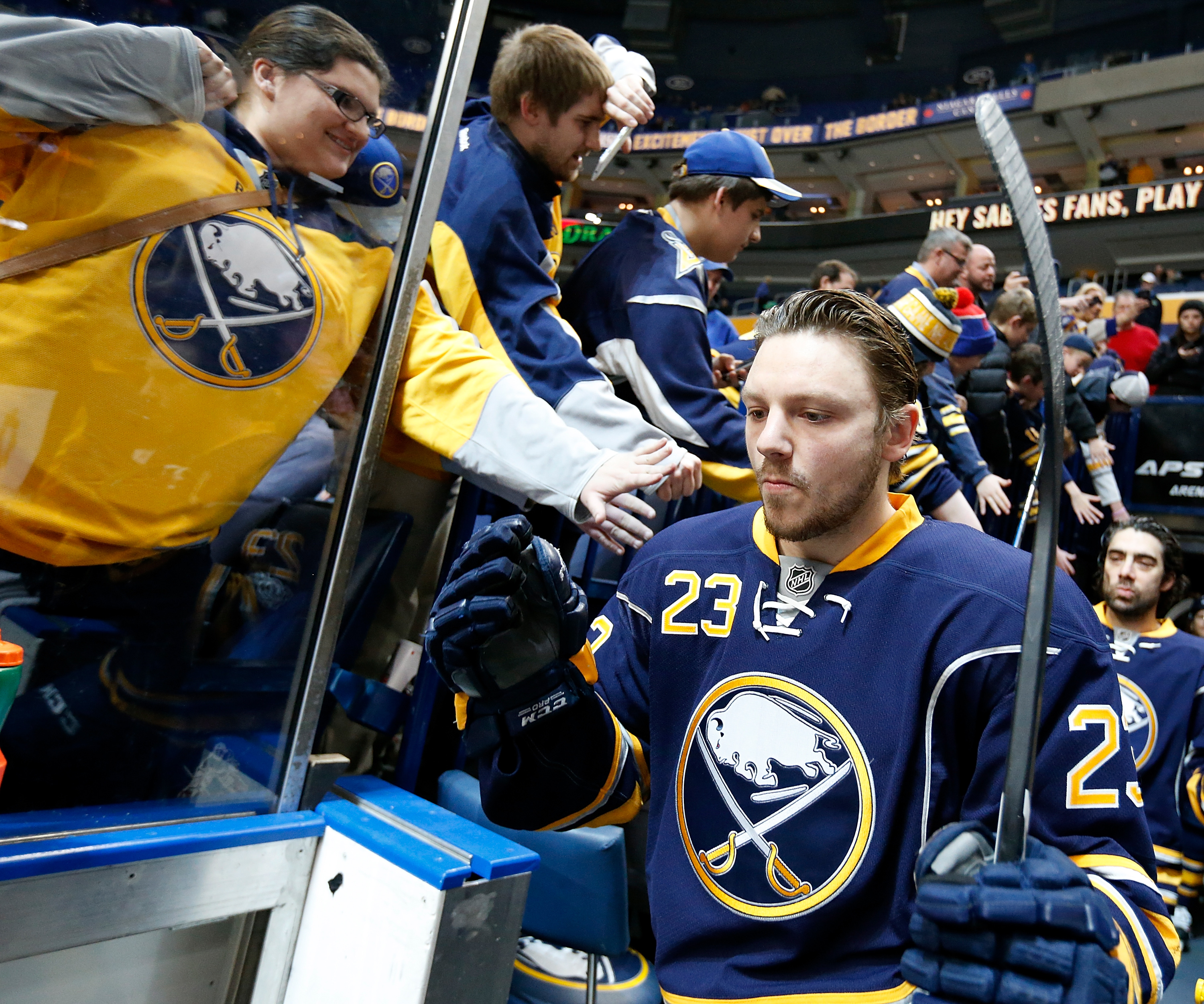 Sam Reinhart, shown earlier this month in Buffalo, was late to a team meeting Tuesday, a source says. (Getty Images)