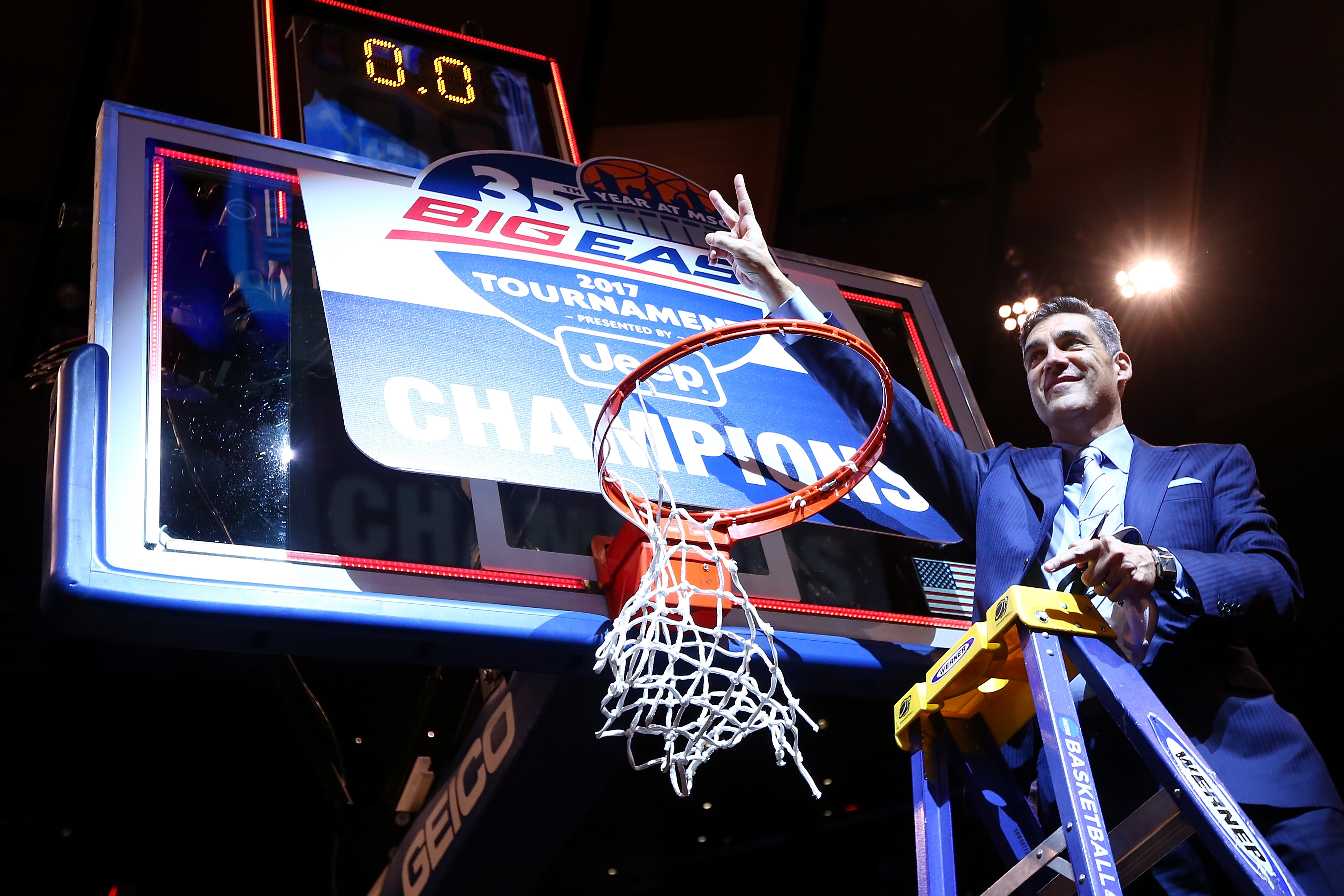 Villanova coach Jay Wright after his teams Big East Tournament win Saturday. (Mike Stobe/Getty Images)