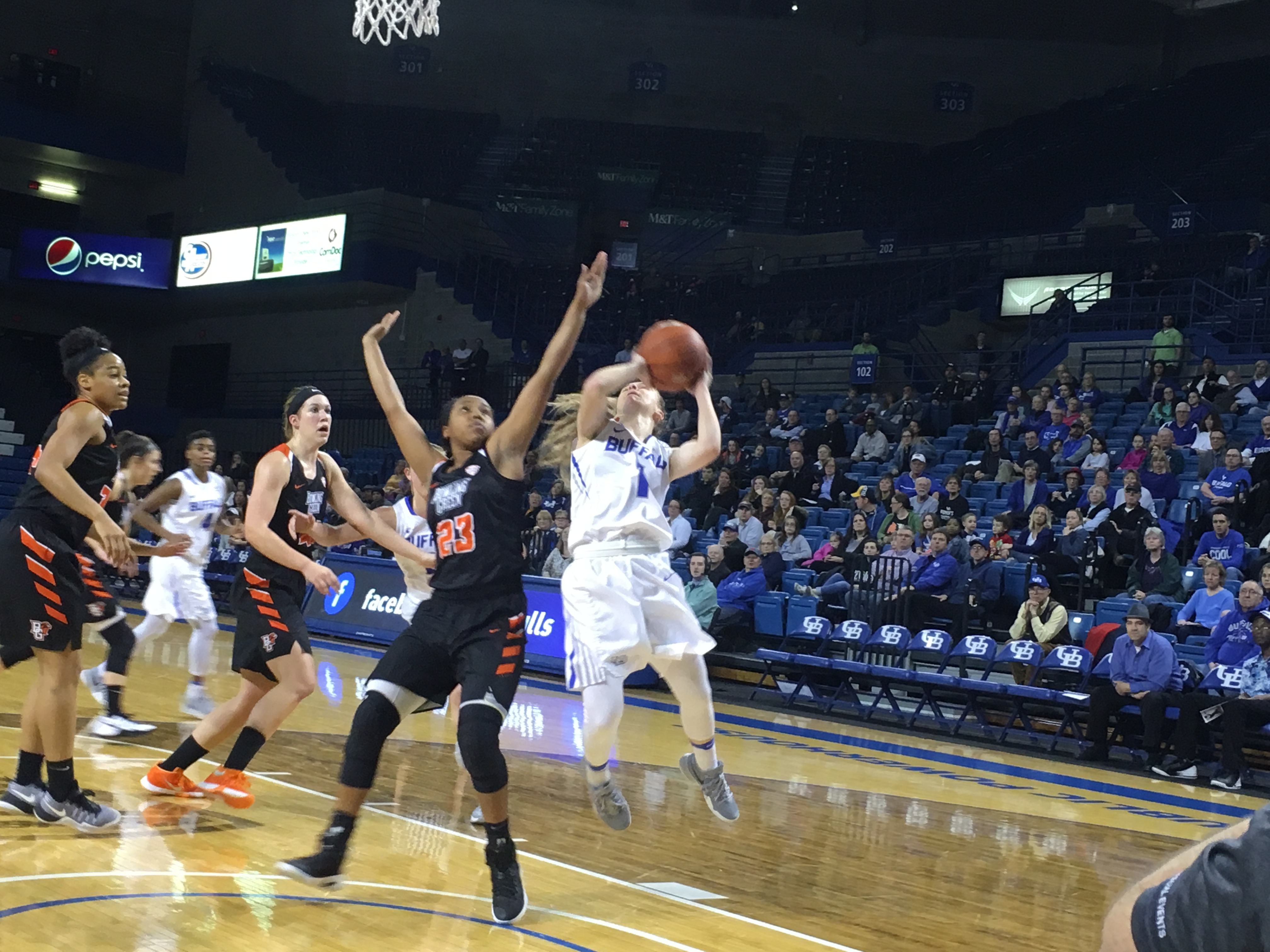 UB's Stephanie Reid drives, scores and gets fouled Monday vs. Bowling Green. (Buffalo News)