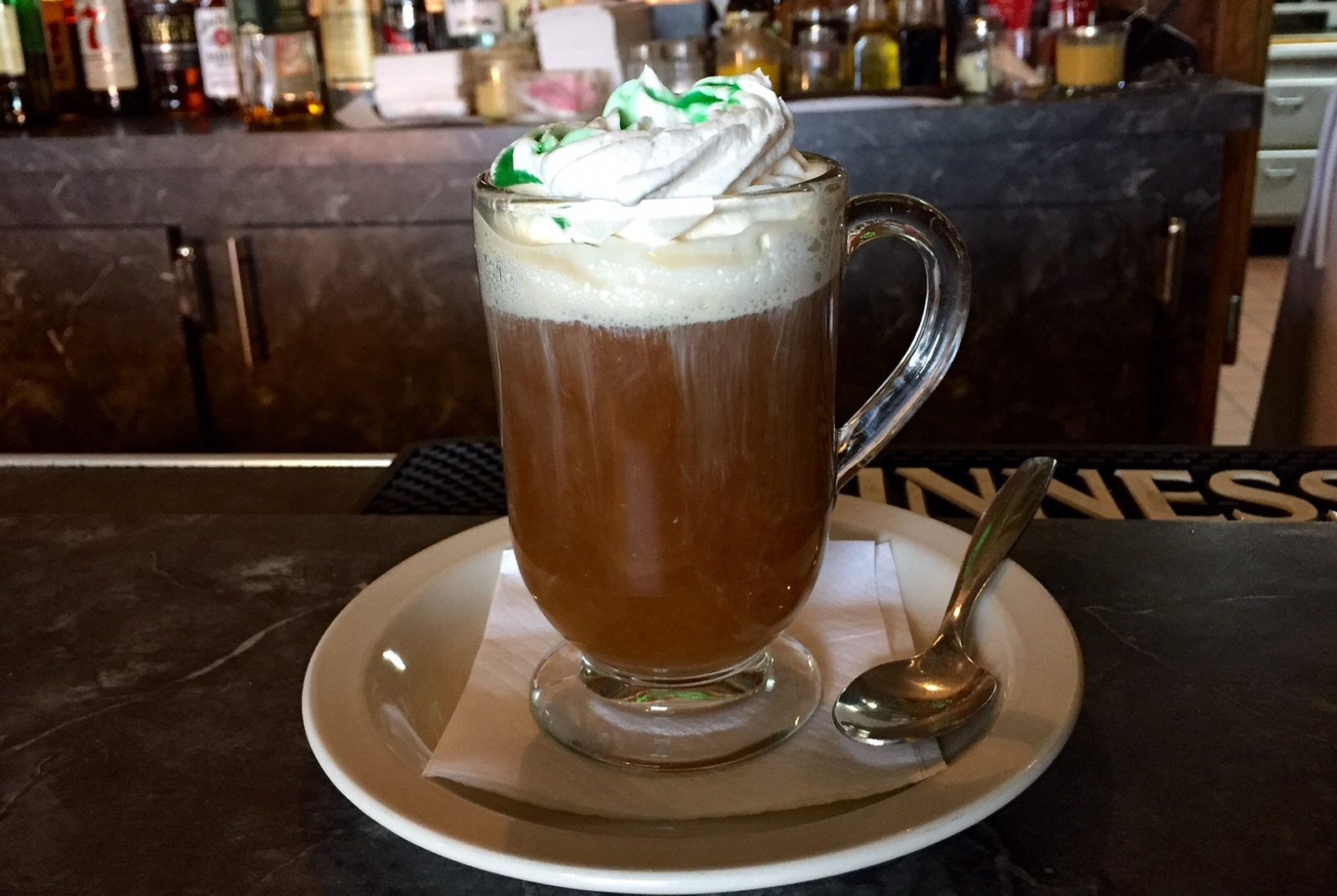 An Irish coffee, McPartlan's way with green creme de menthe on top. (Elizabeth Carey/Special to The News)