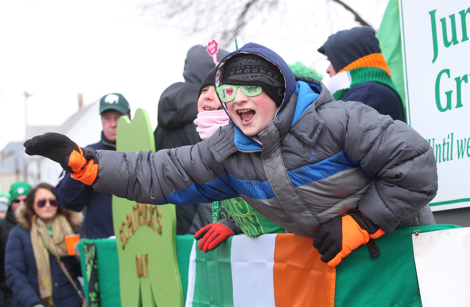 A young boy rides a float in St. Patrick's Day style during the 'Old Neighborhood' St. Patrick's Day Parade on Saturday, March 11, 2017. (Sharon Cantillon/Buffalo News)