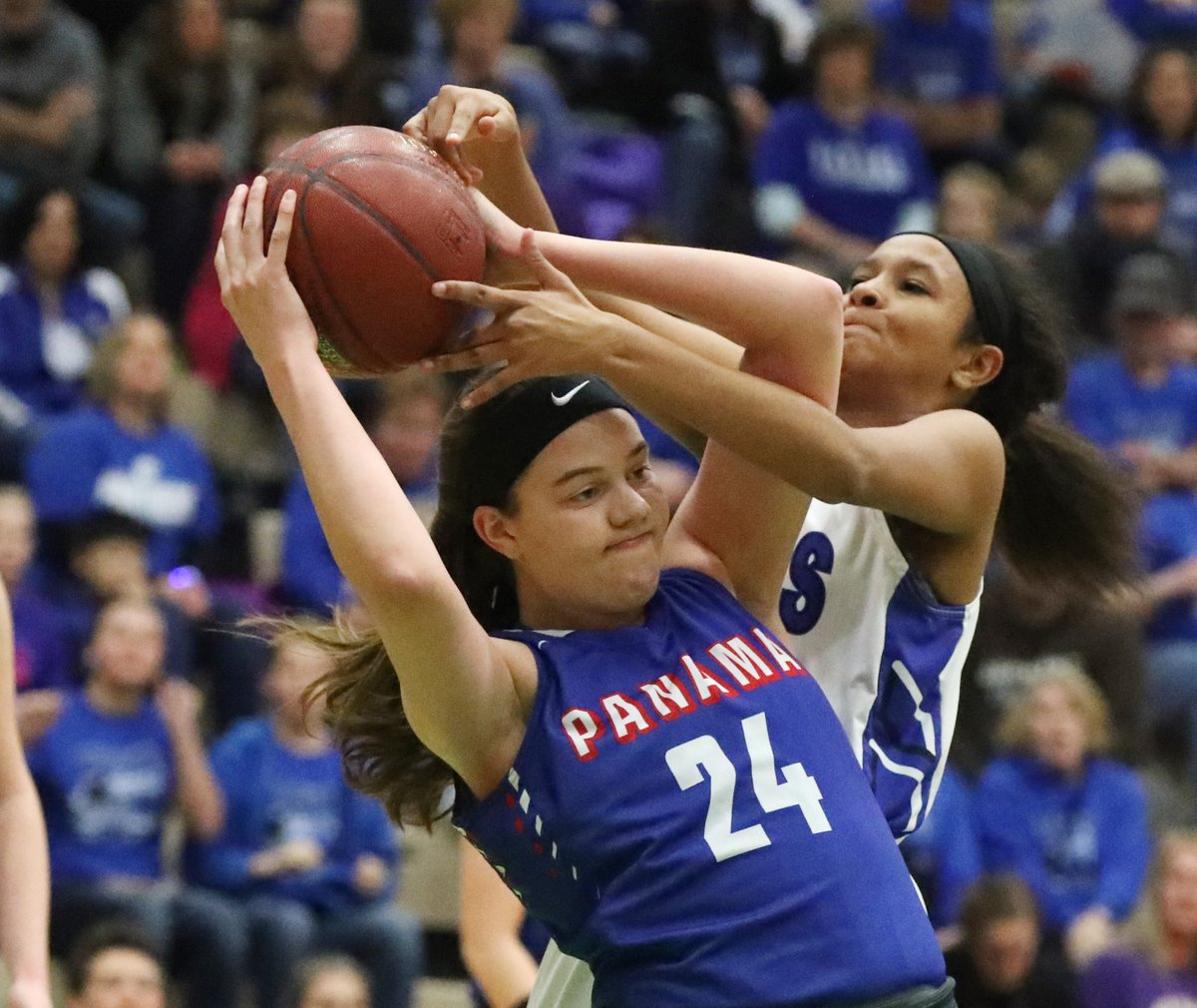 Nicole Johnson of Panama was a huge presence under the basket in the Panthers' semifinal win on Saturday. (Photo by James P. McCoy / Buffalo News).