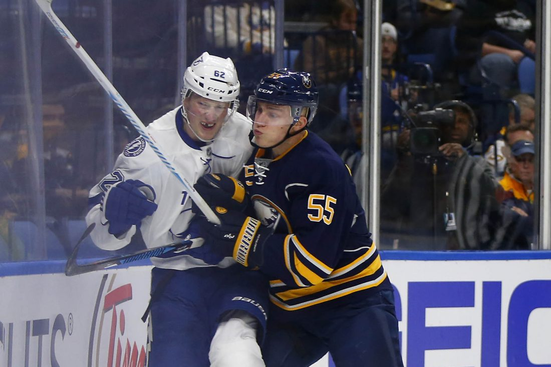 With his offense blossoming, Rasmus Ristolainen keeps working on his defensive game (Mark Mulville/Buffalo News file photo).