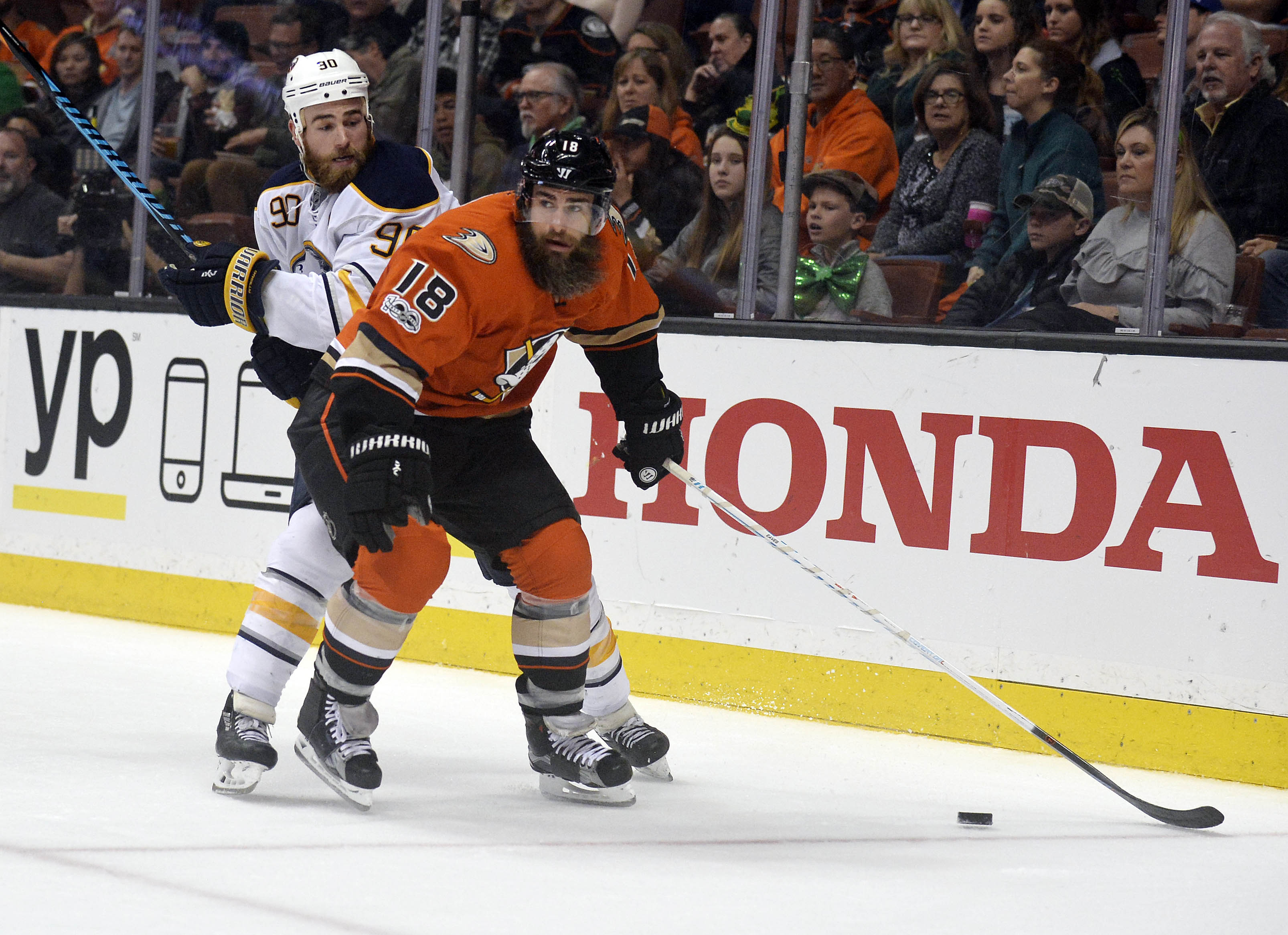 Ryan O'Reilly battles Anaheim's Patrick Eaves (18) during the second period (USA TODAY Sports).