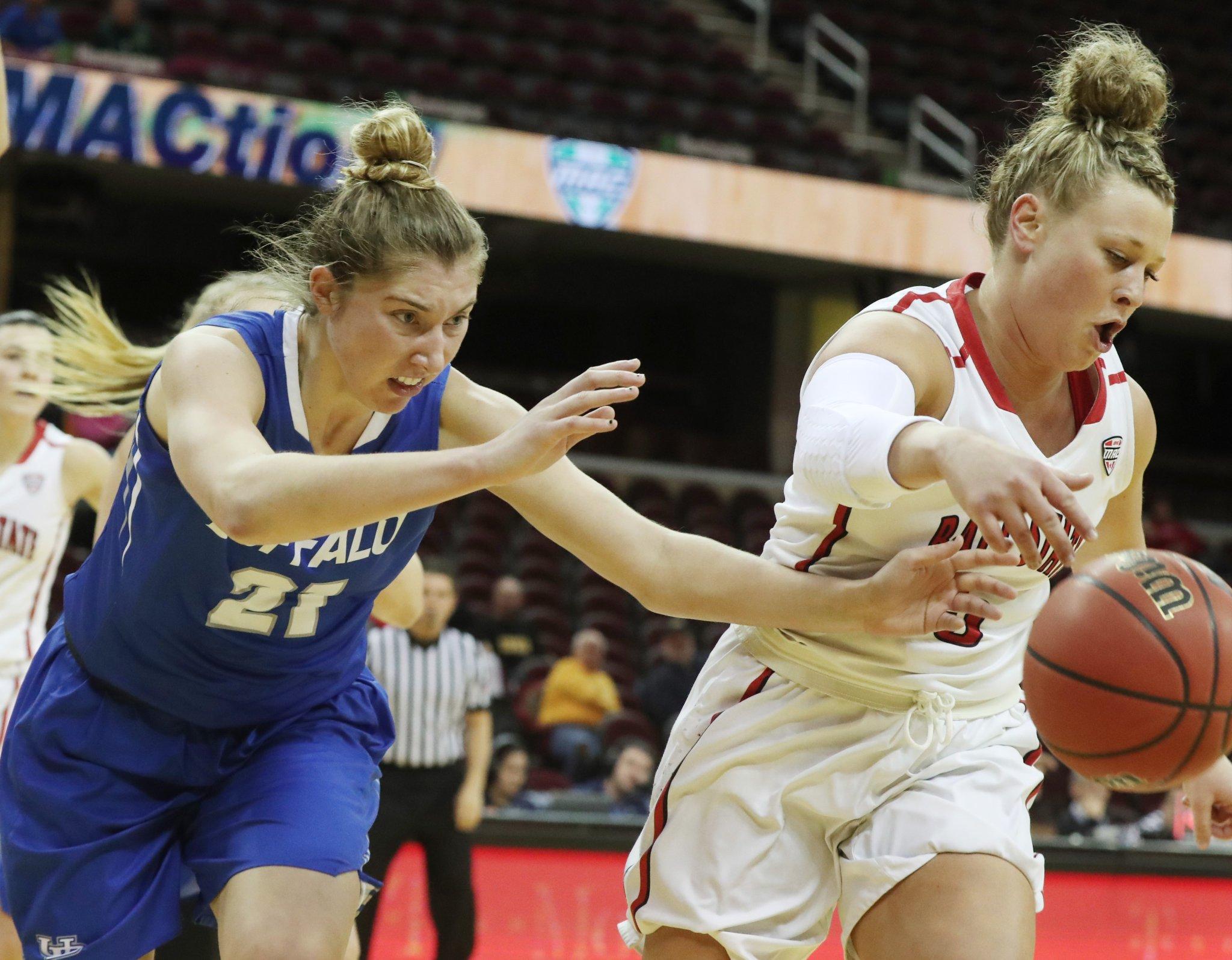 UB's Mariah Suchan battles for a rebound vs. Ball State. (James P. McCoy/Buffalo News)