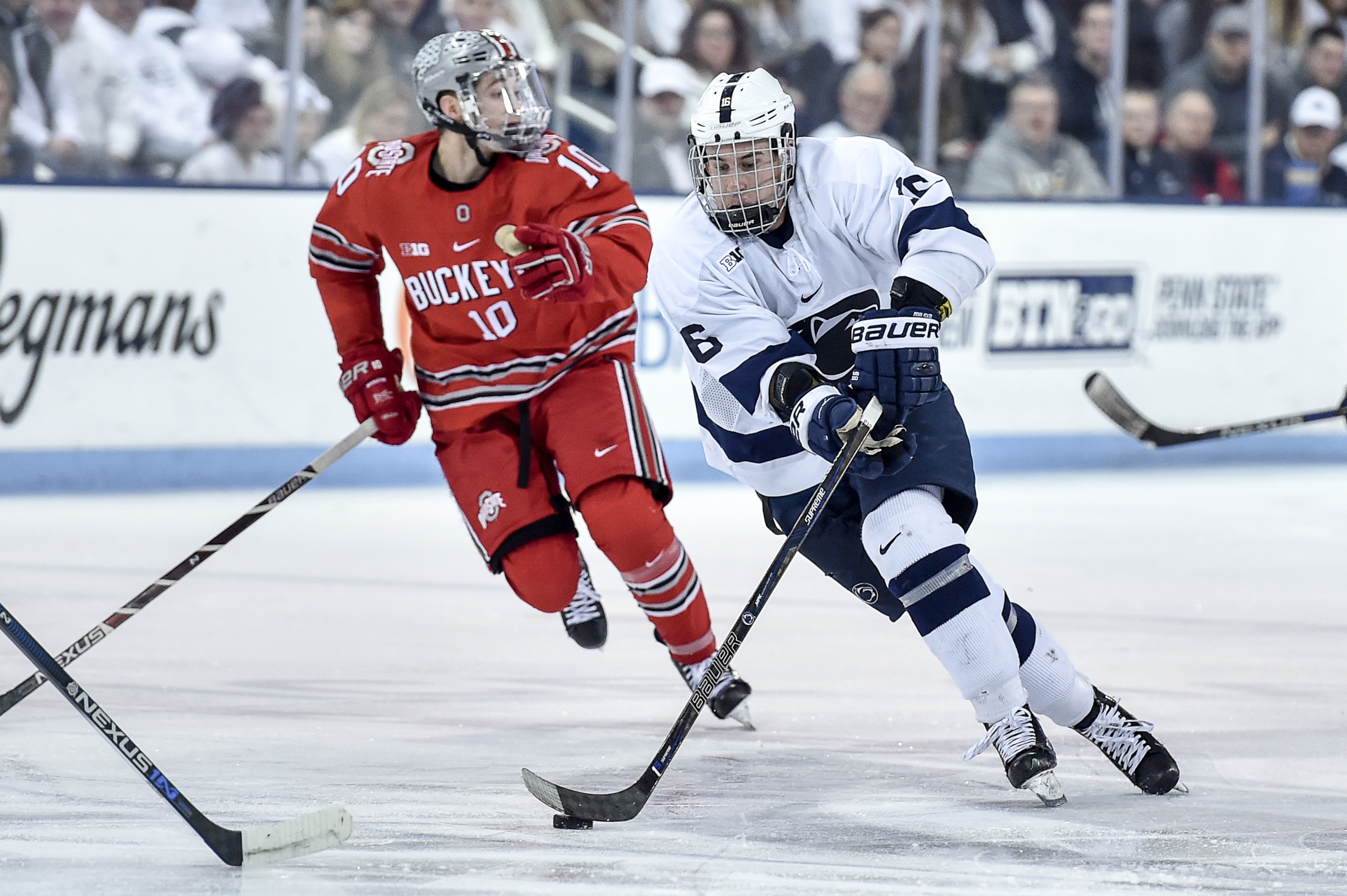 Kenmore East graduate Andrew Sturtz (16), a sophomore at Penn State, is the Nittany Lions' top goal scorer with 21 goals. (Mark Selders/Penn State Athletics)