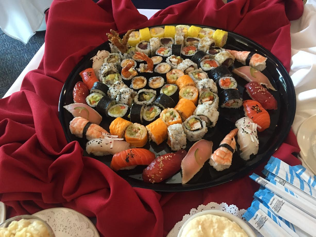 Sushi platters displayed by the Bisons on Thursday.