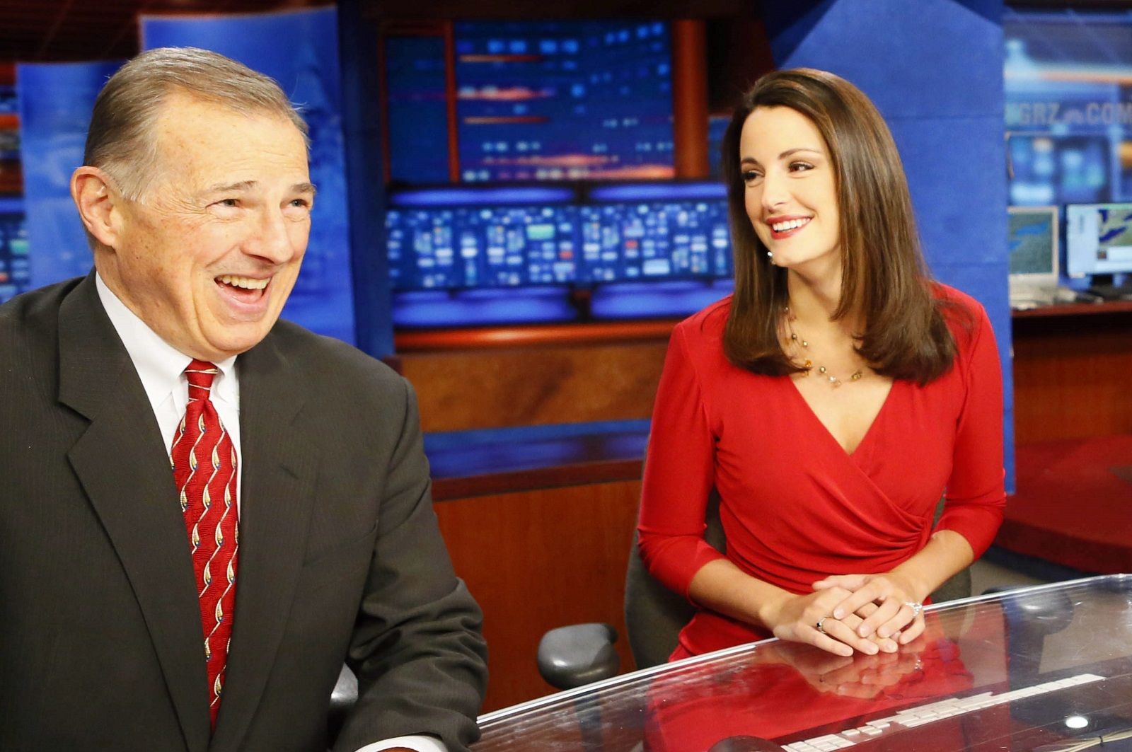Anchors John Beard and Melissa Holmes of WGRZ have new reasons to smile thanks to February sweeps numbers. (Derek Gee/Buffalo News)