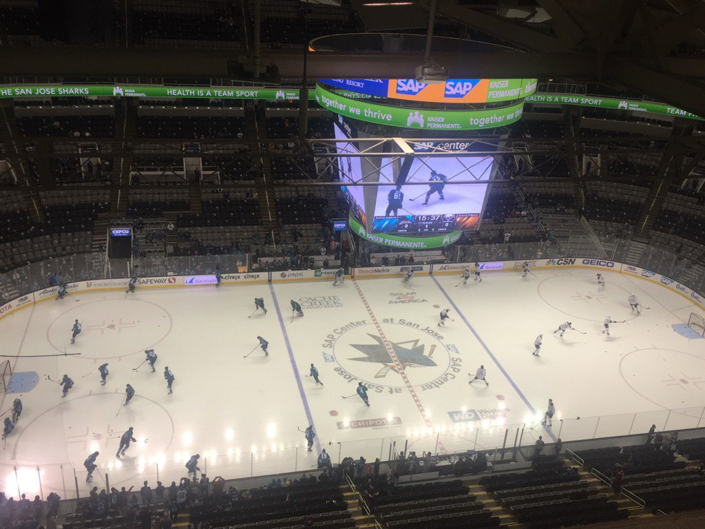 The Sabres and Sharks warm up in SAP Center (Mike Harrington/Buffalo News).