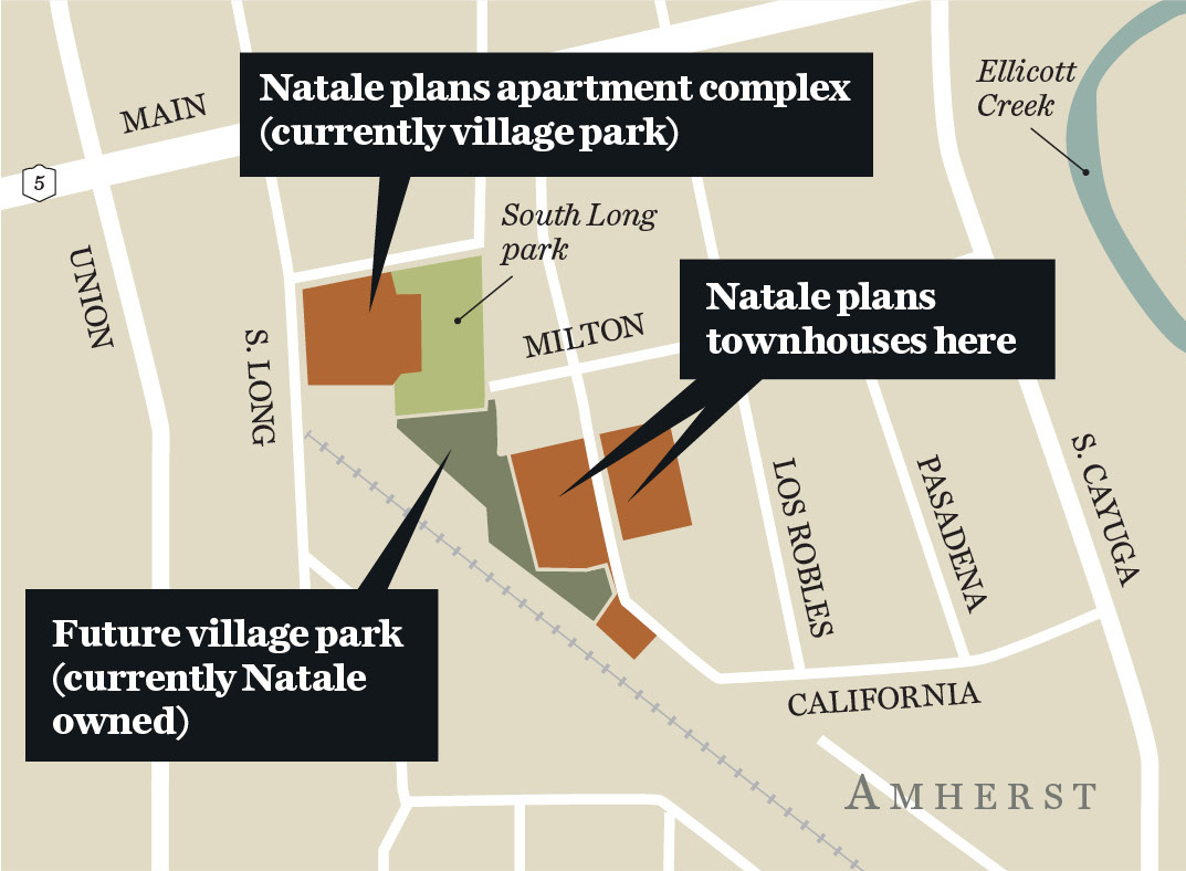 Natale Development and the village of Williamsville are considering swapping parcels of land to modify Natale's proposal to build townhouses and apartments in the village. A prior Natale plan ran into opposition from some residents.