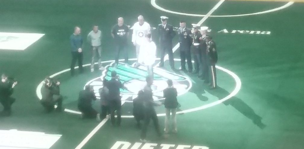 The 2007 Knighthawks and members of the Armed Forces helped at the start of the Bandits' game in Rochester Saturday.