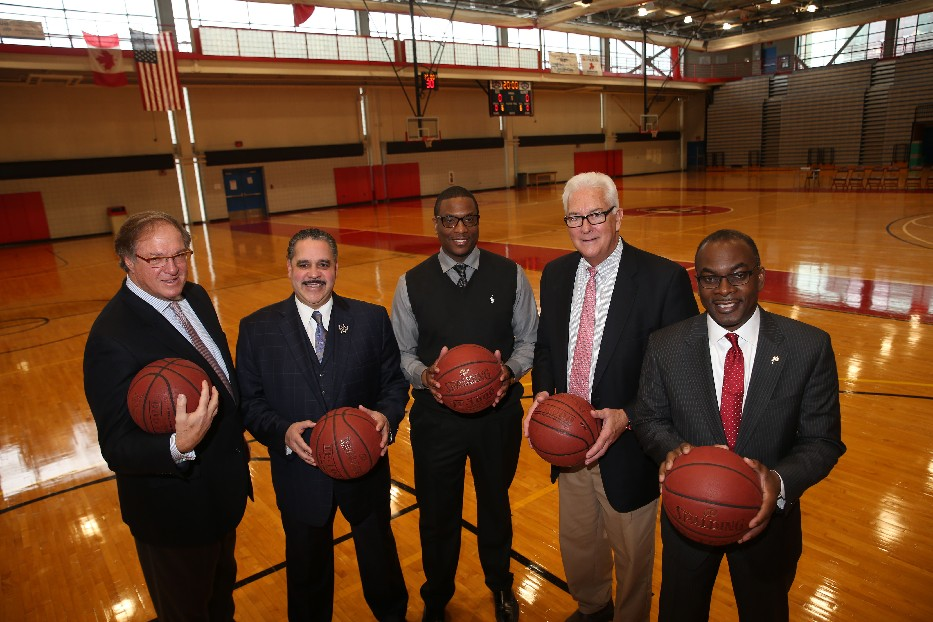 From left, former Buffalo Mayor Anthony Masiello, Buffalo Public Schools Superintendant Kriner Cash, ECC Facility Coordinator Brian Brown, ECC President Jack Quinn and Buffalo Mayor Byron Brown, all played basketball in college, (Derek Gee/Buffalo News)
