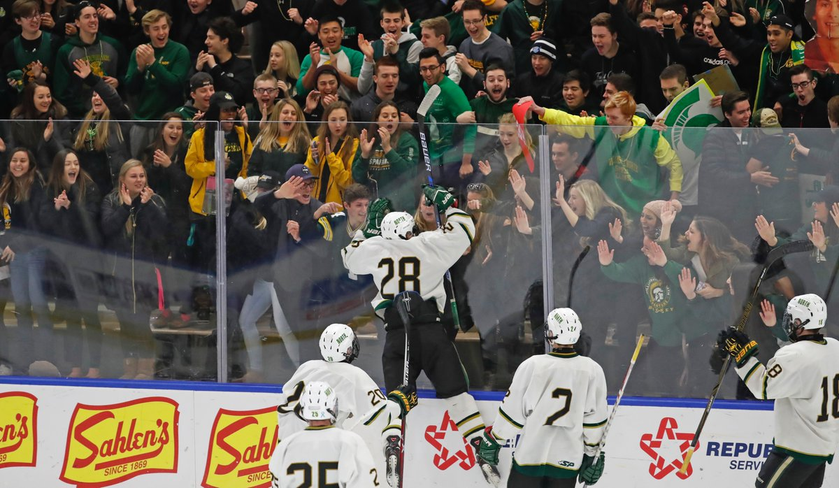 Adam Batz celebrates after scoring what wound up being the championship-winning goal for Williamsville North during Sunday's state tournament triumph over Pittsford. (Harry Scull Jr./Buffalo News)