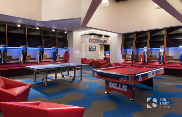 The pool table in the Bills locker room. (Photo courtesy of Kim Smith Photo/www.kimsmithphoto.com
