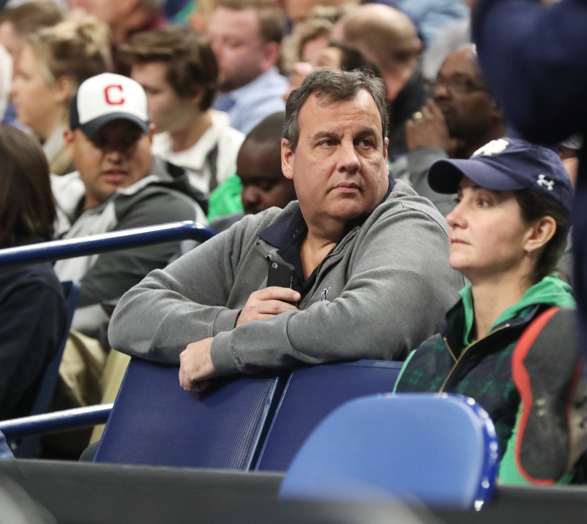 New Jersey Gov. Chris Christie watches Notre Dame-Princeton at KeyBank Center. (James P. McCoy/Buffalo News)