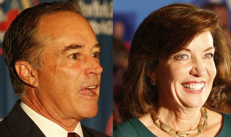 Rep. Chris Collins and Lt. Gov. Kathy Hochul sparred Friday over Medicaid. (Buffalo News file photos)