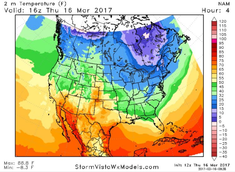 A ridge is keeping things warmer in the west and a trough of Canadian air is keeping the east cold. (StormVistaWxModels.com)
