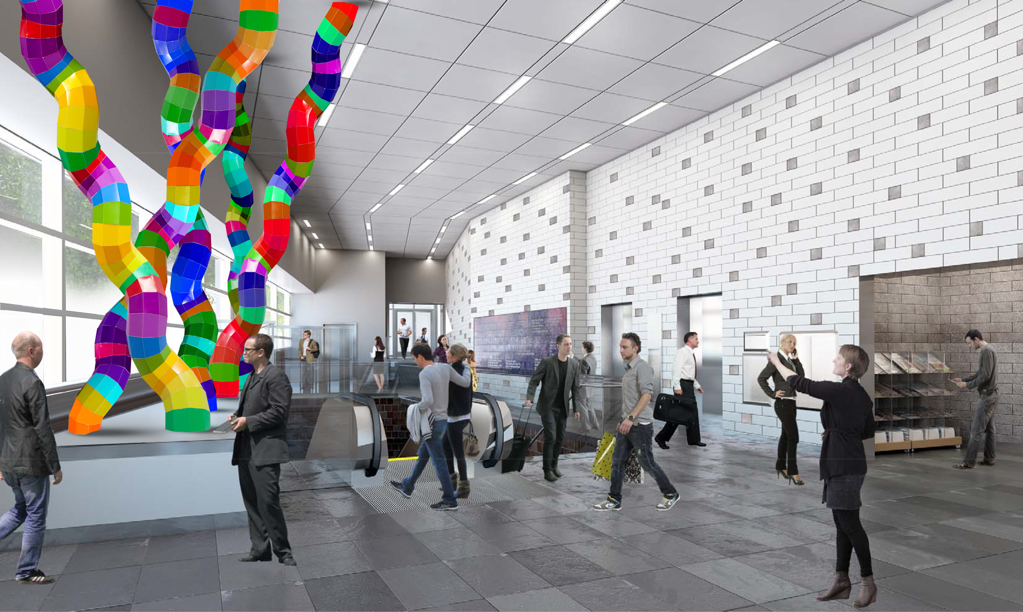 Artistic rendering, courtesy of artist Shasti O'Leary Soudant and HOK Architects, for public art inside the Allen Street/Medical Campus Metro Rail station.