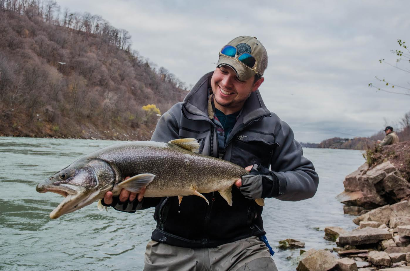 Jimmy Fee with a Lower Niagara River lake trout.