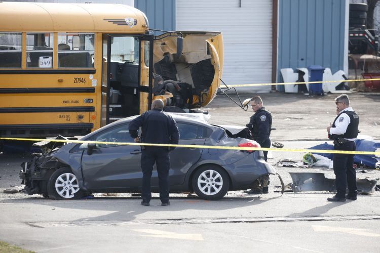 Buffalo school bus-vehicle collision after police chase