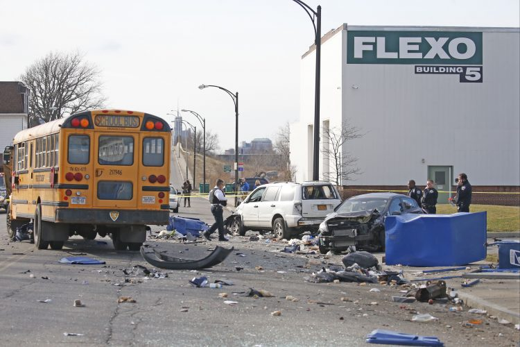 Two seriously hurt after police chase, crash with school bus