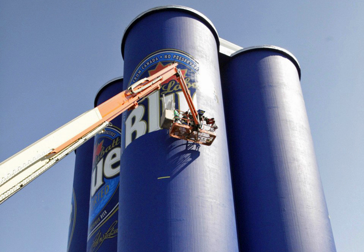 The Labatt 'Six Pack' debuted on grain elevators along the Buffalo River several years ago. (Buffalo News file photo)