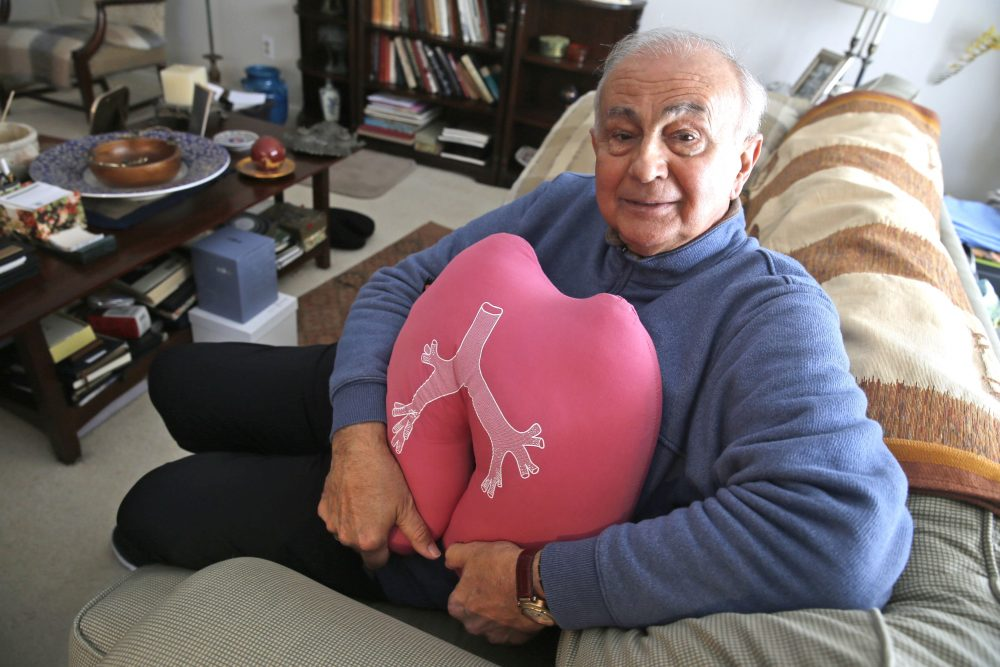 Maurilio 'Mauri' Giannada waited a nerve-racking 10 months before receiving a donated lung last summer. He's holding a pillow given to him by his medical aides at the Cleveland Clinic, where he had surgery last July. (Photos by Robert Kirkham/Buffalo News)