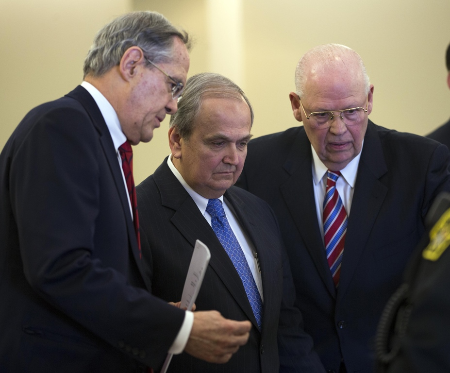 Former state senator George Maziarz, center, with lawyers E. Stewart Jones, left, and Joseph LaTona, appears in Albany County Court on Thursday, March 23, 2017, in Albany. ( Mike Groll/Special to The Buffalo News)