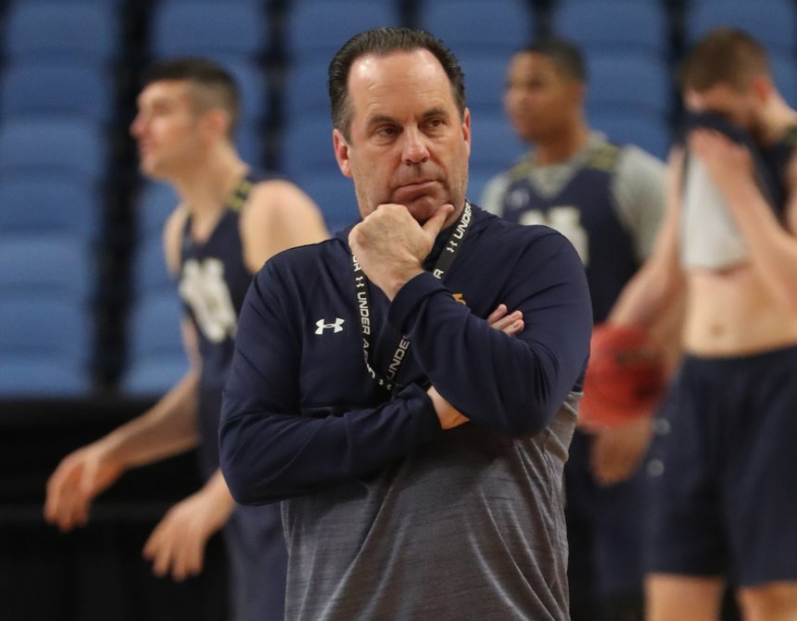 Notre Dame coach Mike Brey watches his team practice at KeyBank Center on Wednesday, March 15, 2017. (James P. McCoy/Buffalo News)