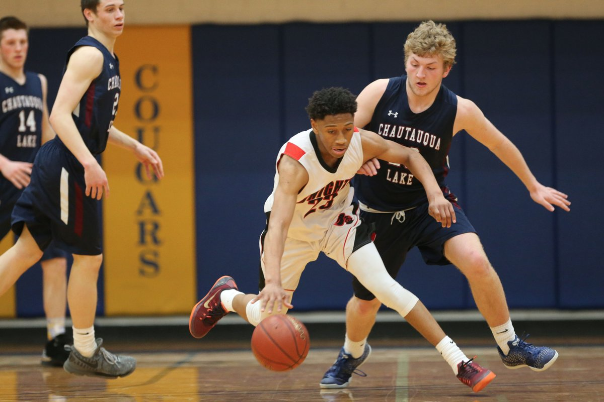 Miles Brown pulls away from a Chautauqua Lake defender as the sophomore poured in 38 points for Northstar Christian in Saturday's Class C Regional contest at Genesee Community College. (Derek Gee/Buffalo News)