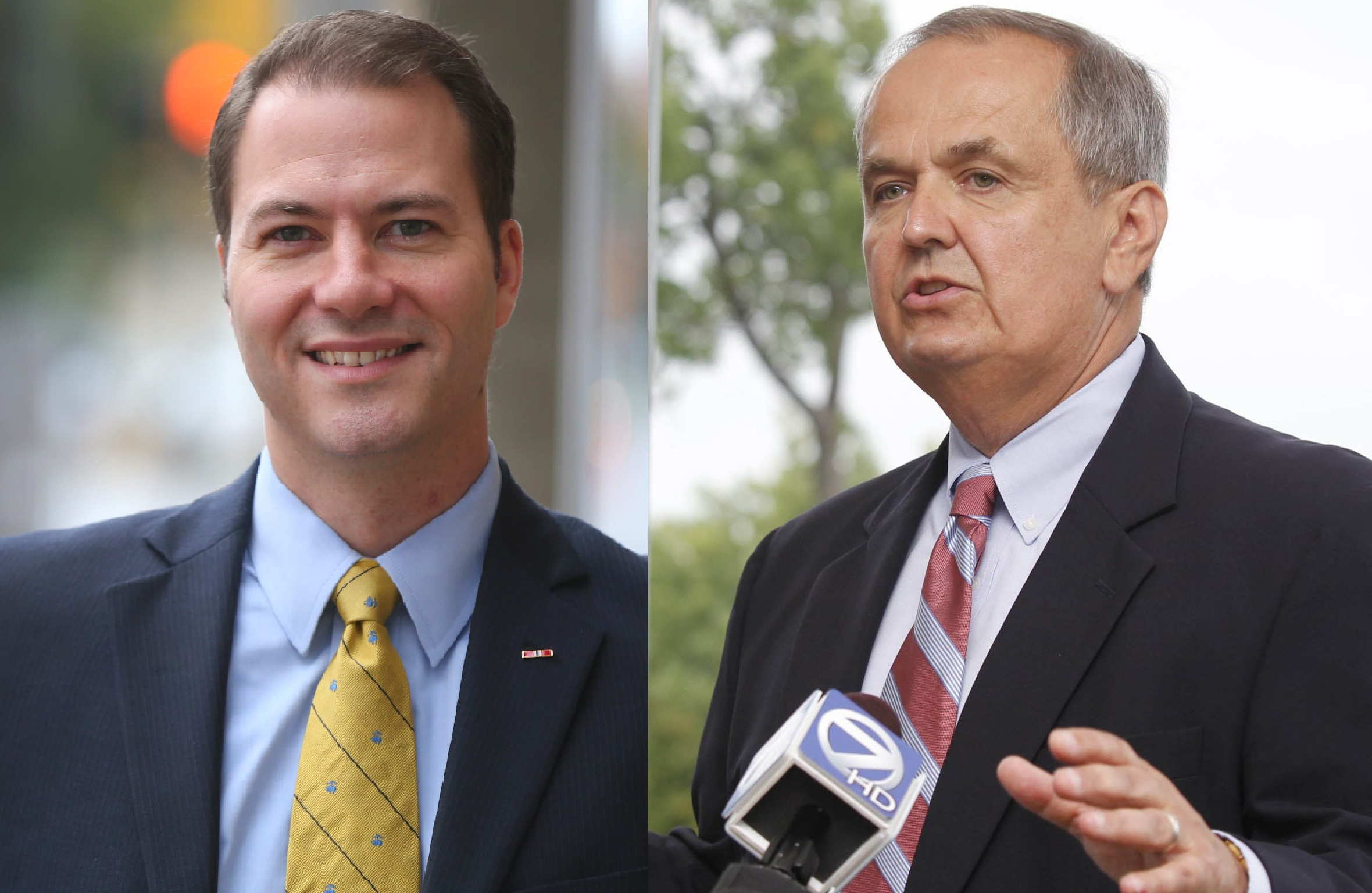 State Sen. Rob Ortt, left, and former State Sen. George Maziarz, right, were indicted by an Albany grand jury on Wednesday. (News file photos)