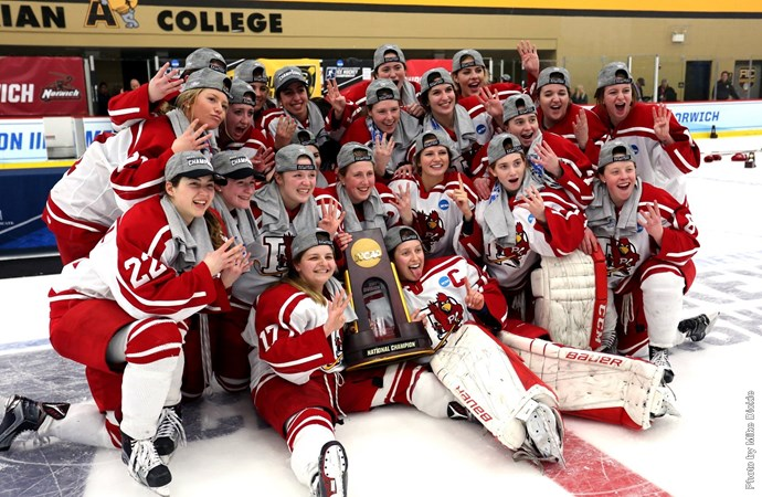 Plattsburgh State won its fourth straight NCAA Division III women's hockey title. (Plattsburgh State)