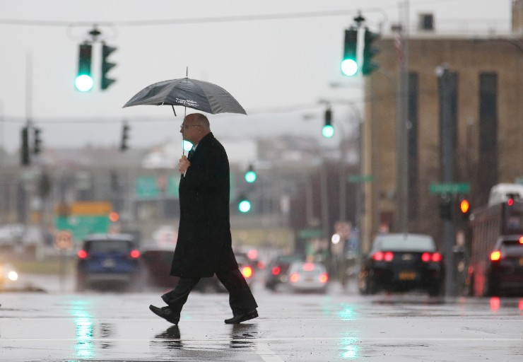 Umbrellas will be necessary equipment in downtown Buffalo on Friday. (Sharon Cantillon/Buffalo News)