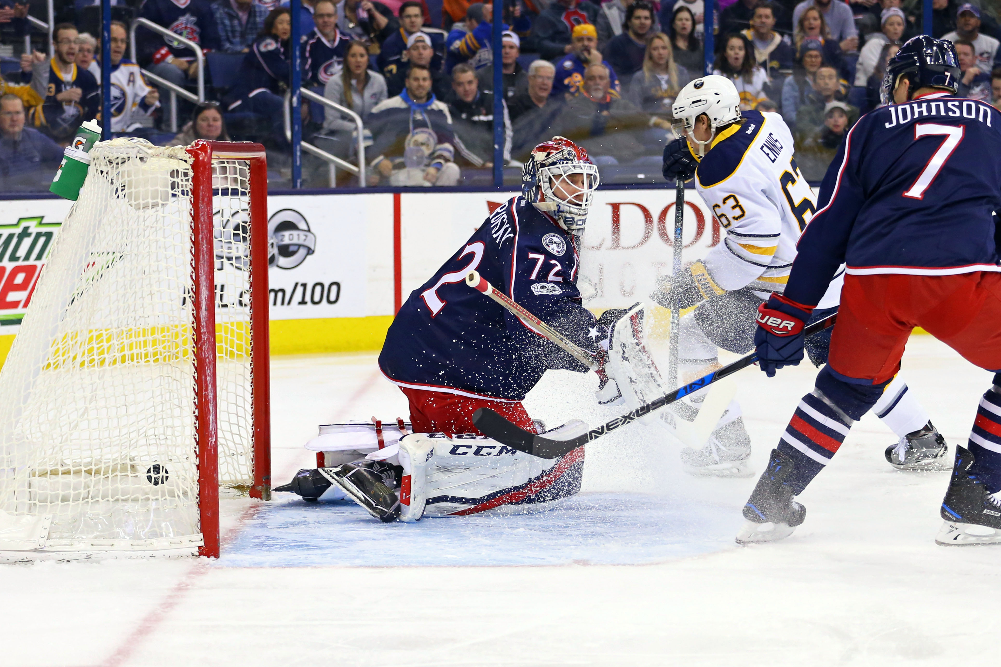 The Sabres ended Sergei Bobrovsky's shutout streak at 182:50 when Evan Rodrigues scored in the firsrt period. (USA TODAY Sports