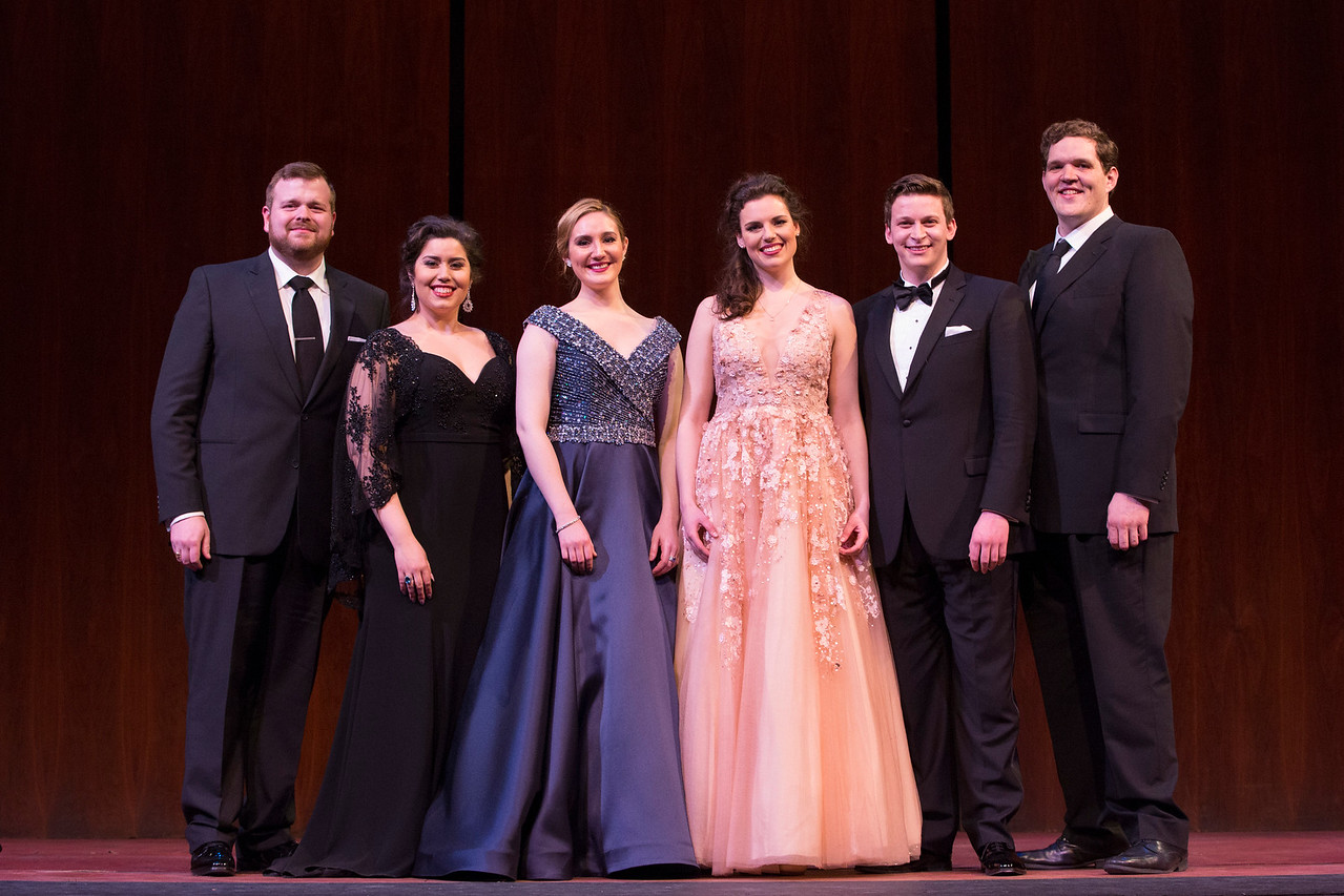 Lockport tenor Kyle van Schoonhoven, far left, celebrates with the other winners at the 2017 National Council Grand Finals Concert. Joining him are, from left to right: Vanessa Vasquez, Samantha Hankey, Kirsten MacKinnon, Aryeh Nussbaum Cohen, and Richard Smagur. (Photo by Marty Sohl/Metropolitan Opera.)
