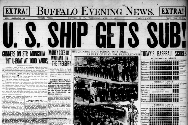 Front page, April 25, 1917: First American shot fired in WWI sinks German sub