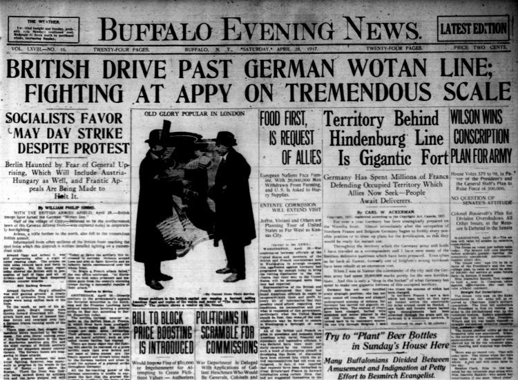 The front page of the April 28, 1917, Buffalo Evening News.