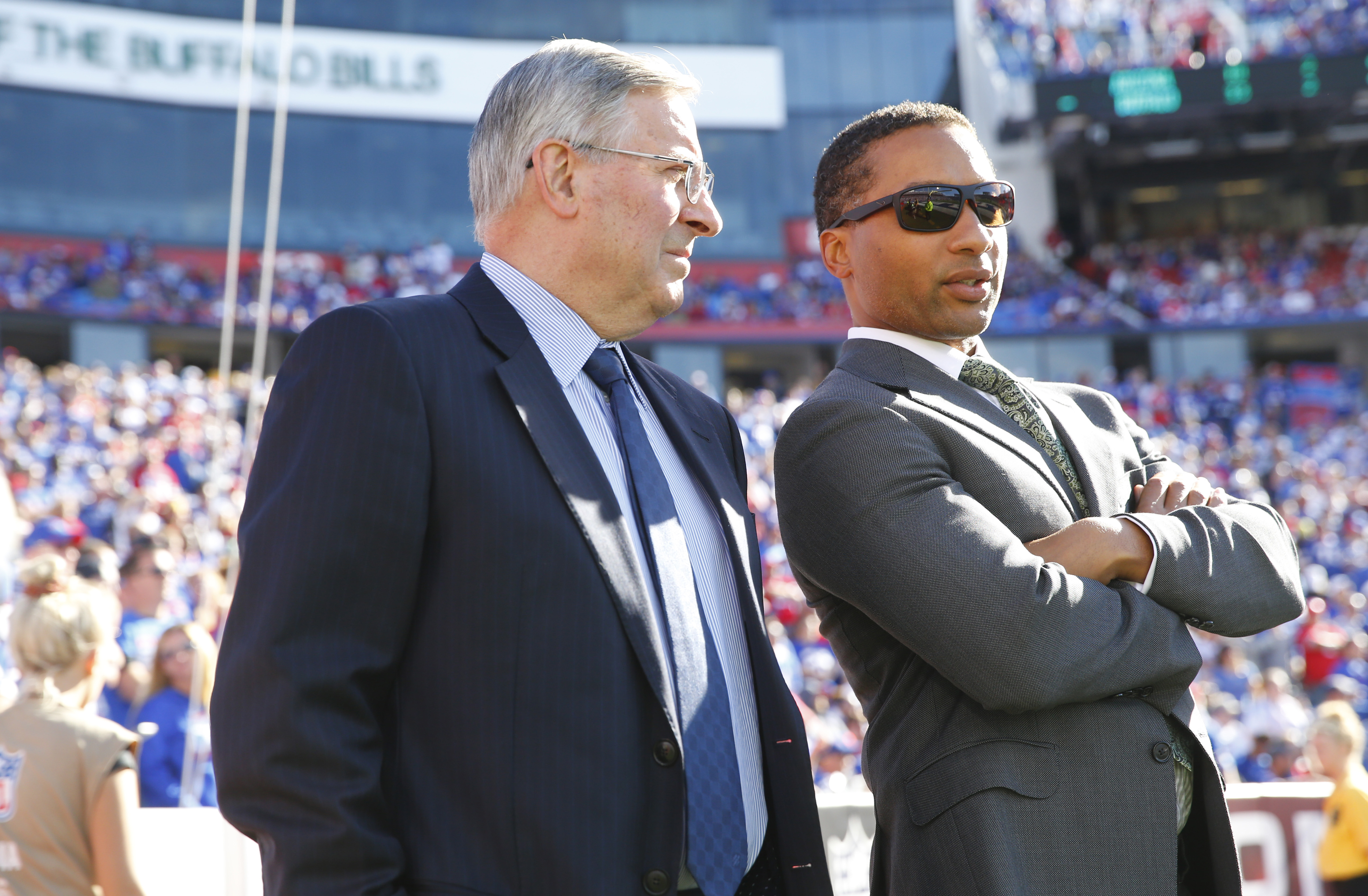 Buffalo Bills owner Terry Pegula and general manger Doug Whaley watch the closing minutes from the field against the Arizona Cardinals during the fourth quarter at New Era Field on Sunday, Sept. 25, 2016.  (Harry Scull Jr./Buffalo News)