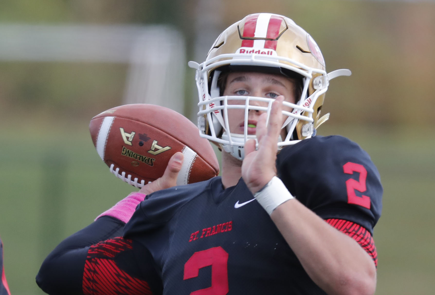 St. Francis quarterback Jerry Hickson is taking his talents to Santa Barbara City College. He's one of six Red Raiders who committed to college football programs, St. Francis coach Jerry Smith (not pictured) announced on Thursday.  (Harry Scull Jr./Buffalo News file photo)