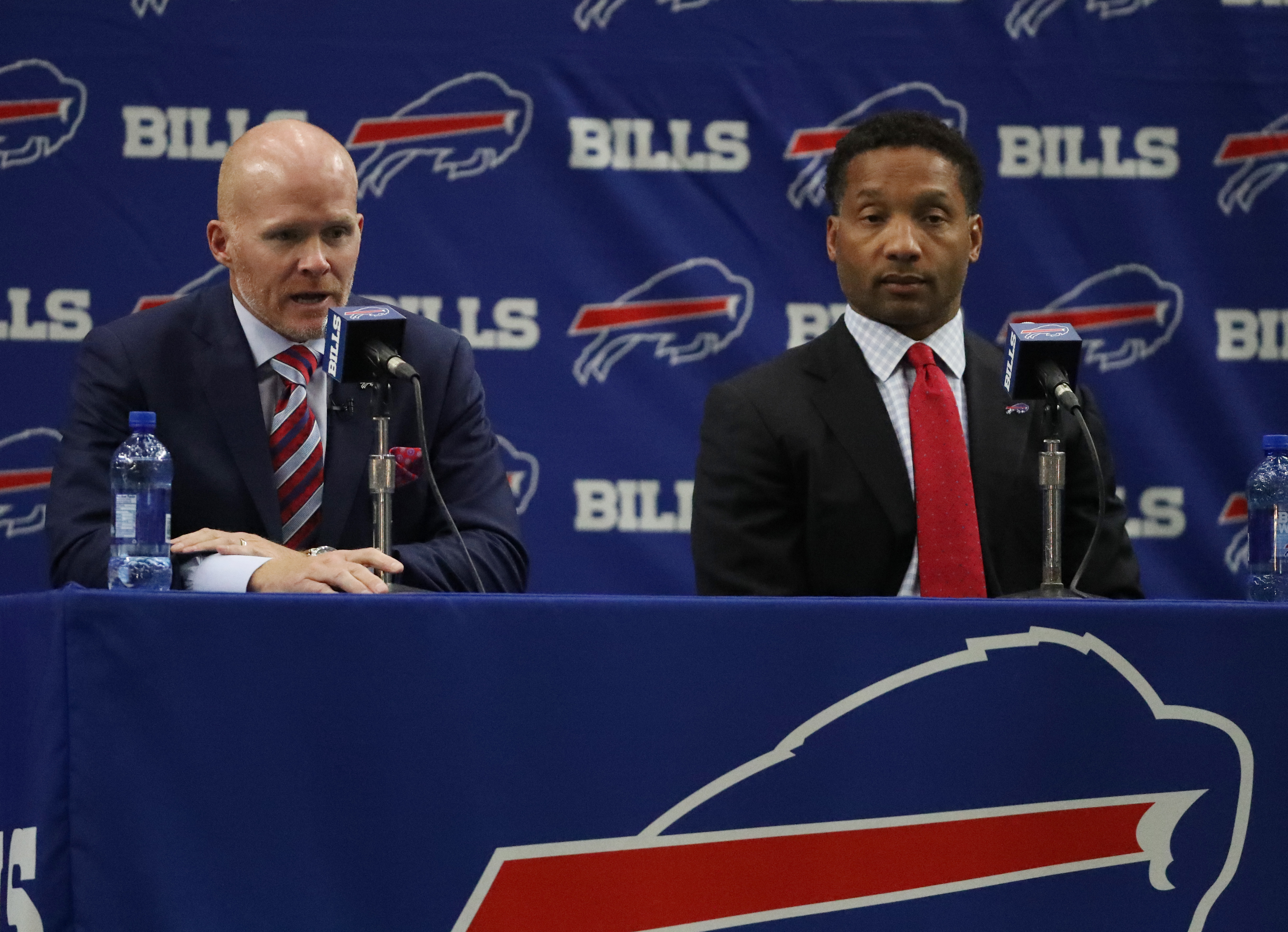 New Bills coach Sean McDermott has insisted he will team with General Manager Doug Whaley and others to decide on the team's first-round draft pick. (James P. McCoy/Buffalo News)