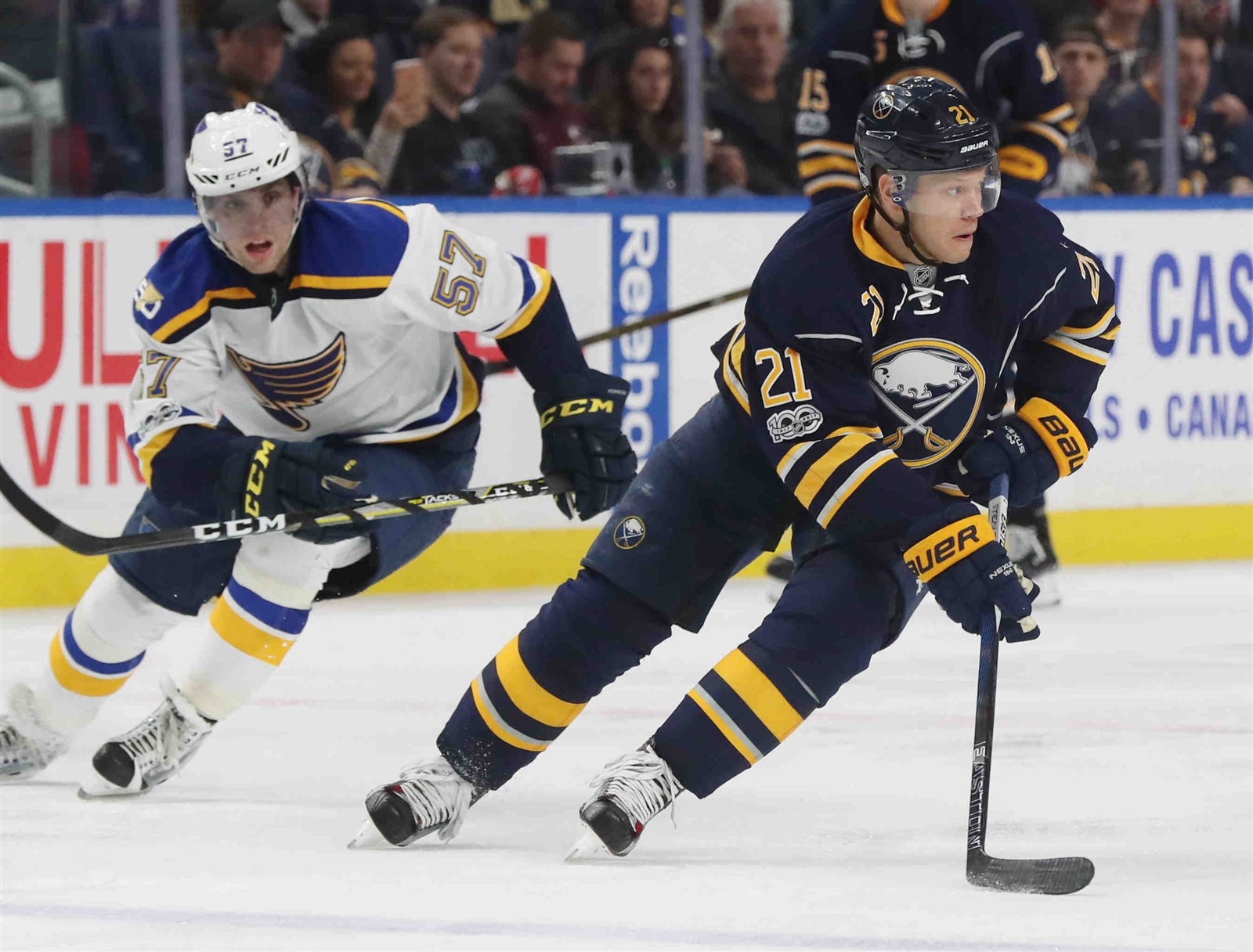 Kyle Okposo has begun his recovery from a lingering ailment that had him hospitalized. (James P. McCoy/Buffalo News)