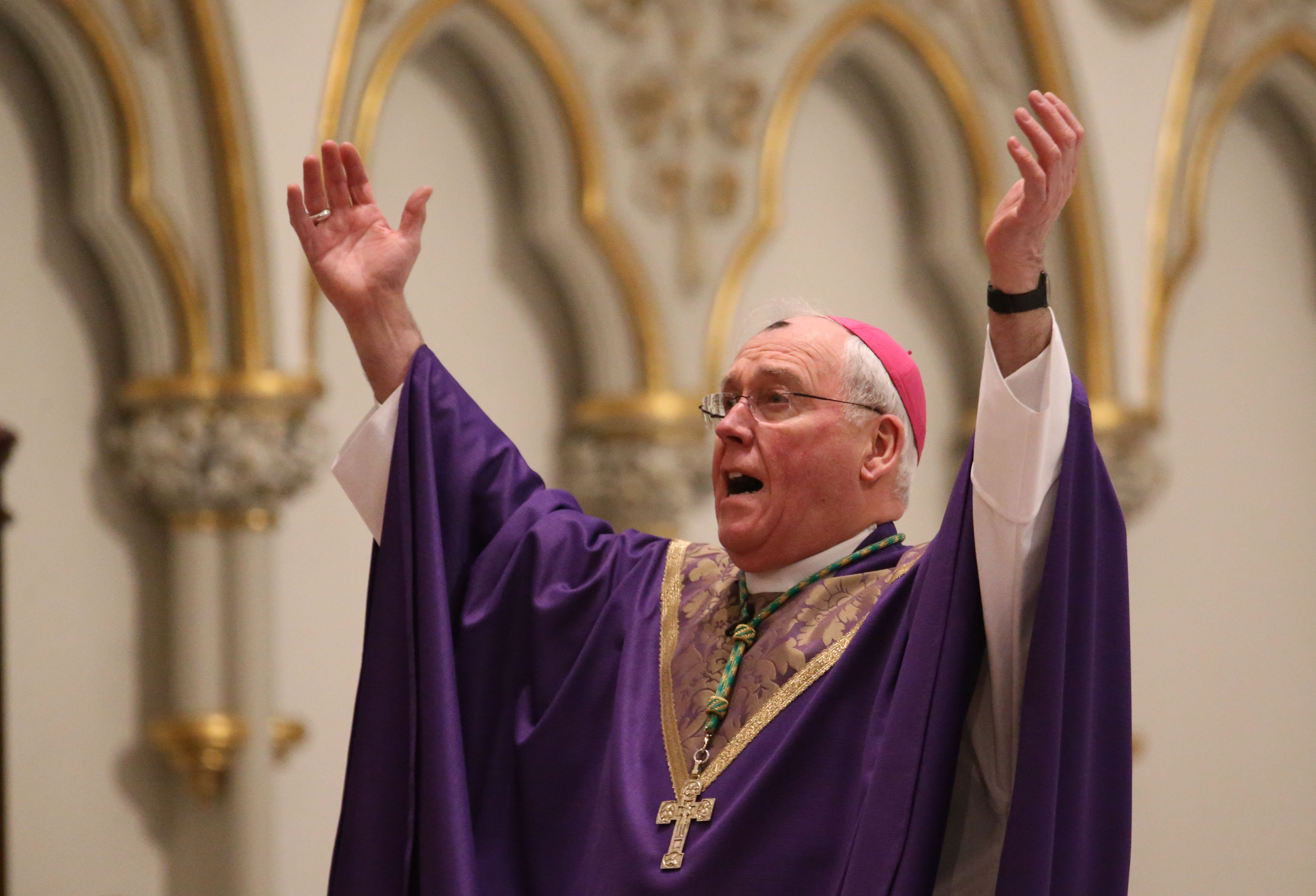 Bishop Richard Malone celebrates Mass and distributes ashes at St. Joseph Cathedral in Buffalo on Ash Wednesday, March 1, 2017.  (Sharon Cantillon/Buffalo News)