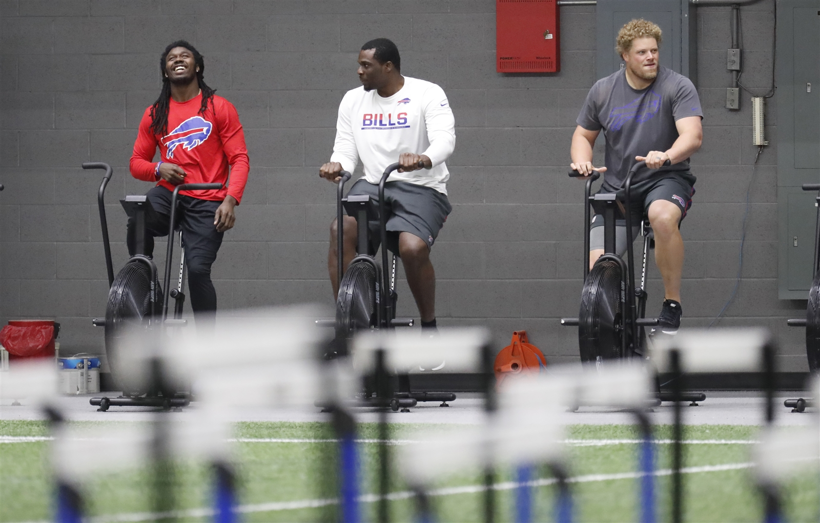 Sammy Watkins, Cyrus Kouandjio and Eric Wood – all recovering from injuries – took part as attendance was strong at the Bills' first day of voluntary offseason workouts. (Harry Scull Jr./Buffalo News)