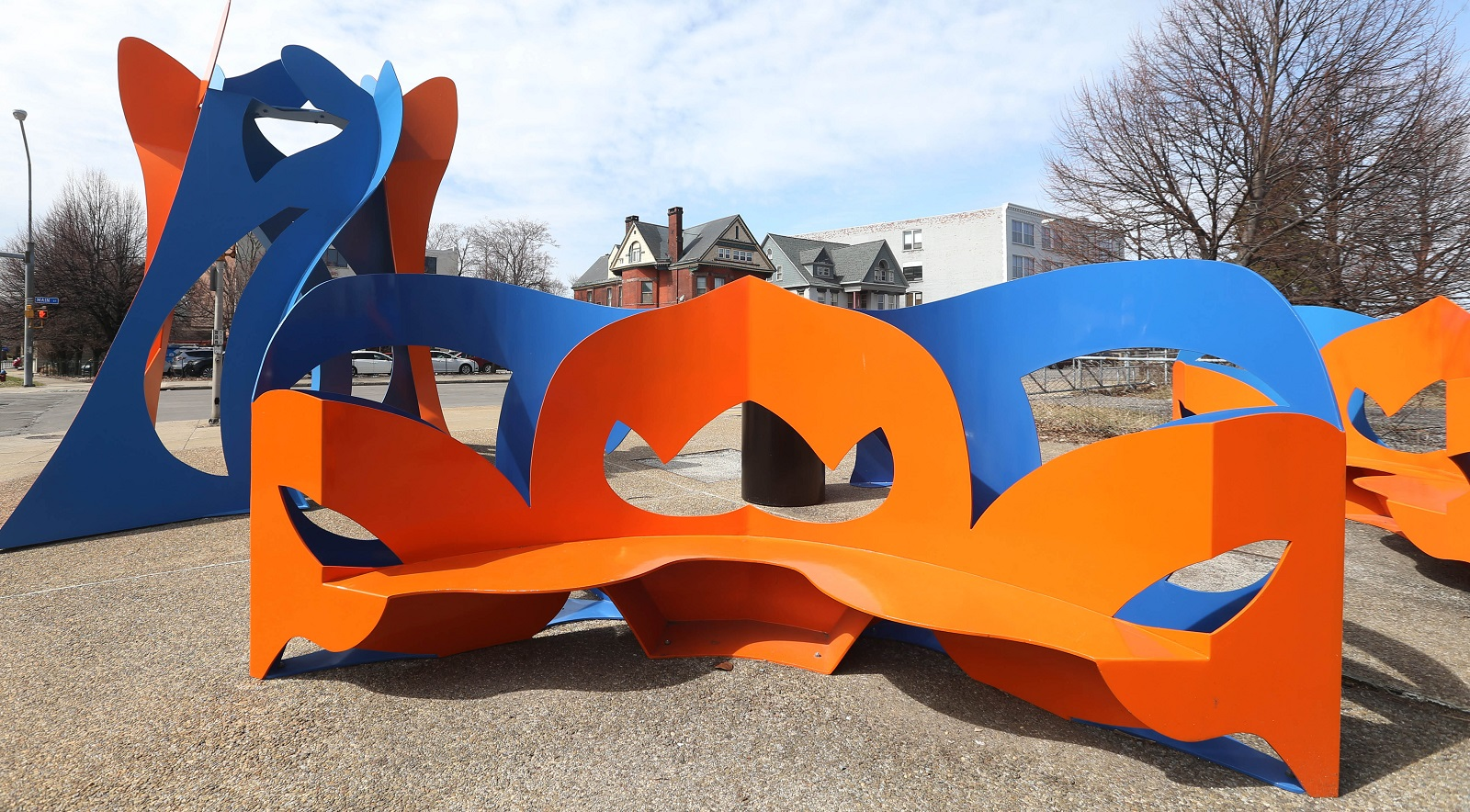 The painted steel sculptures on the exterior of the Summer-Best Station were created by George Sugarman, of New York City. (Sharon Cantillon/Buffalo News)