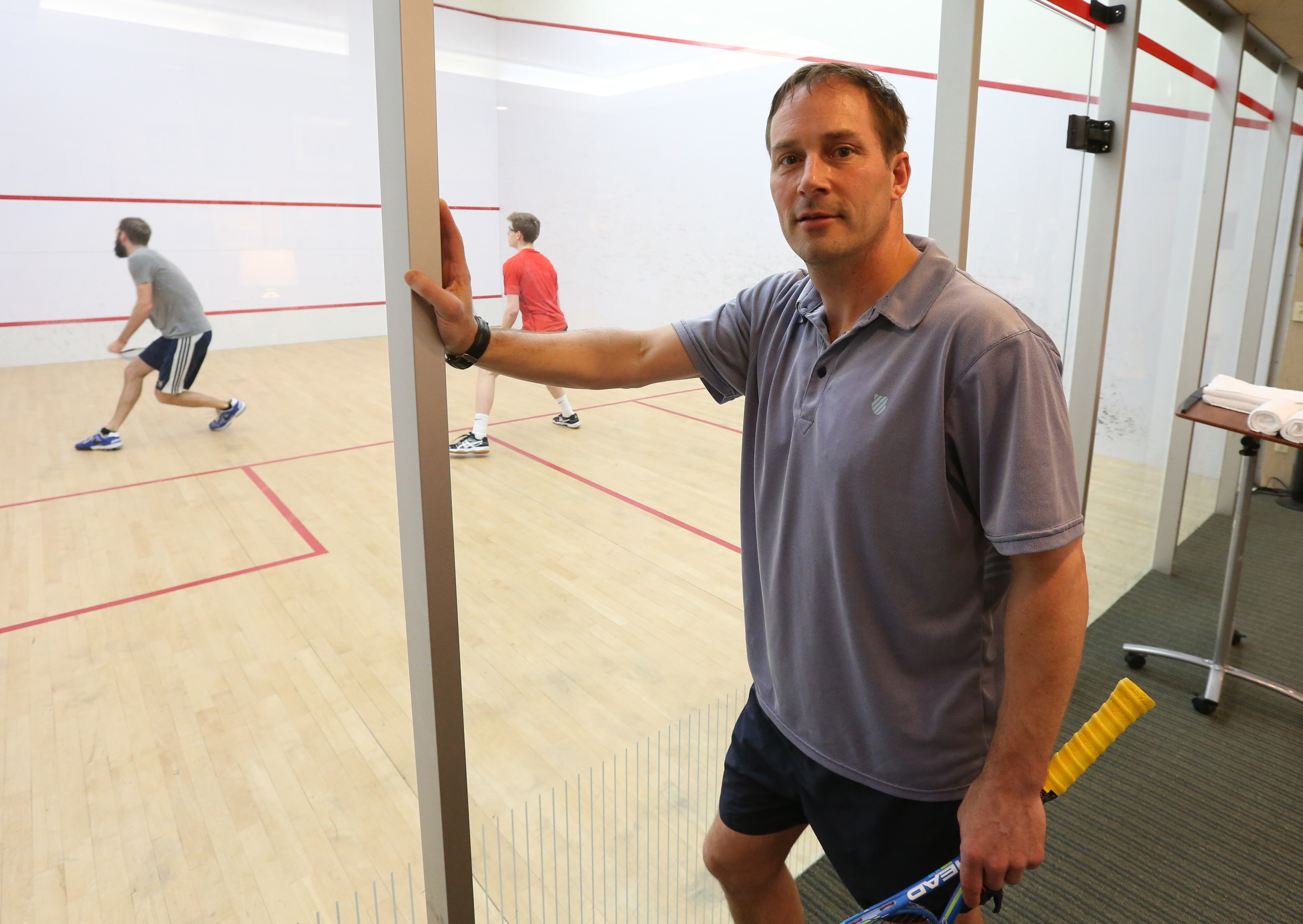 Jamie Crombie is the new head squash pro at  Buffalo Tennis & Squash Club. (James P. McCoy/Buffalo News)