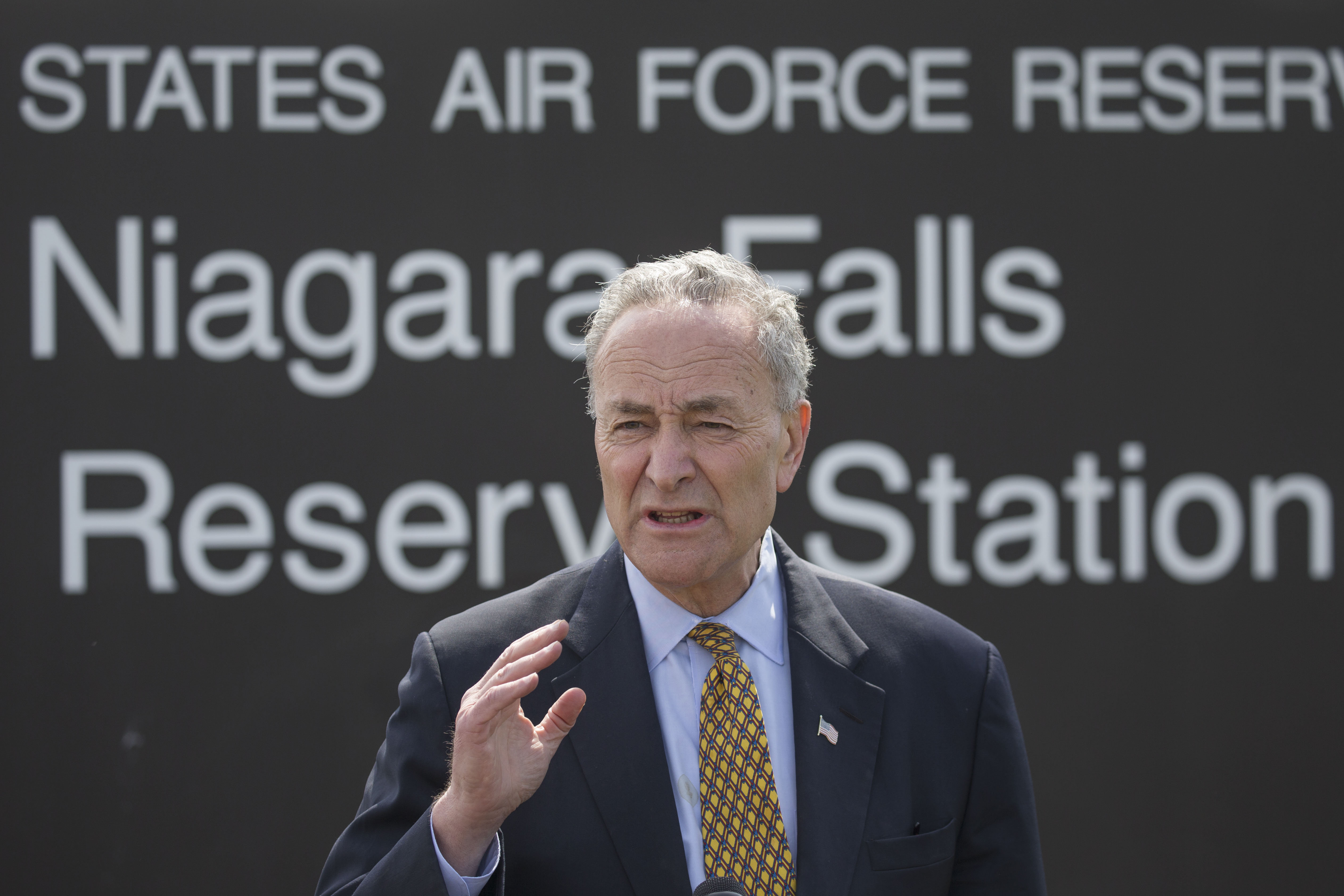 Sen. Charles Schumer holds a press conference outside the Niagara Air Reserve Station in the Town of Niagara to call on the DOD to locate a KC-135 flight simulator on the base, Monday, April 10, 2017. (Derek Gee/Buffalo News)