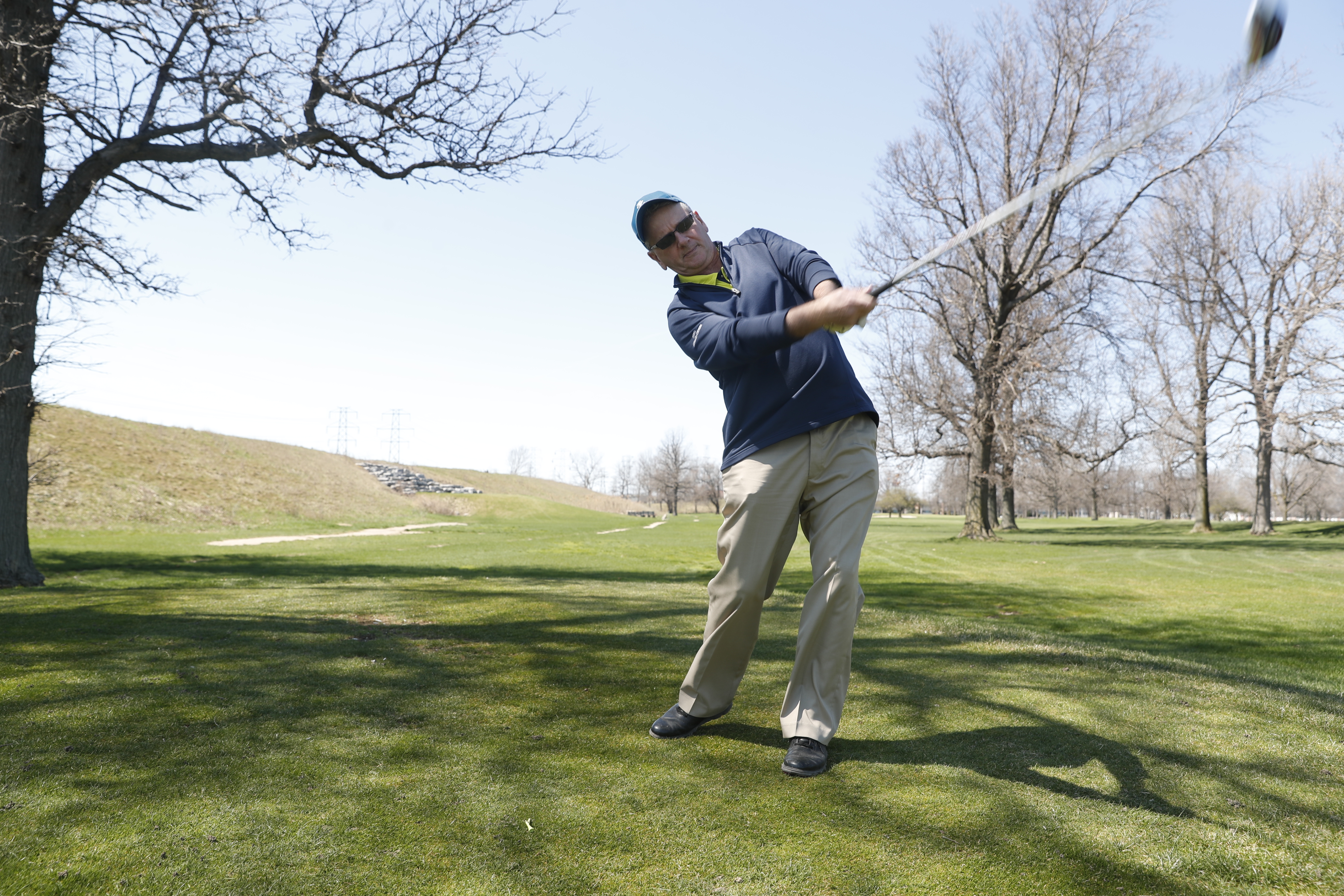 Jerry Sullivan lets it fly at Brighton, a course he admits is too long for his game.  (Harry Scull Jr./Buffalo News)