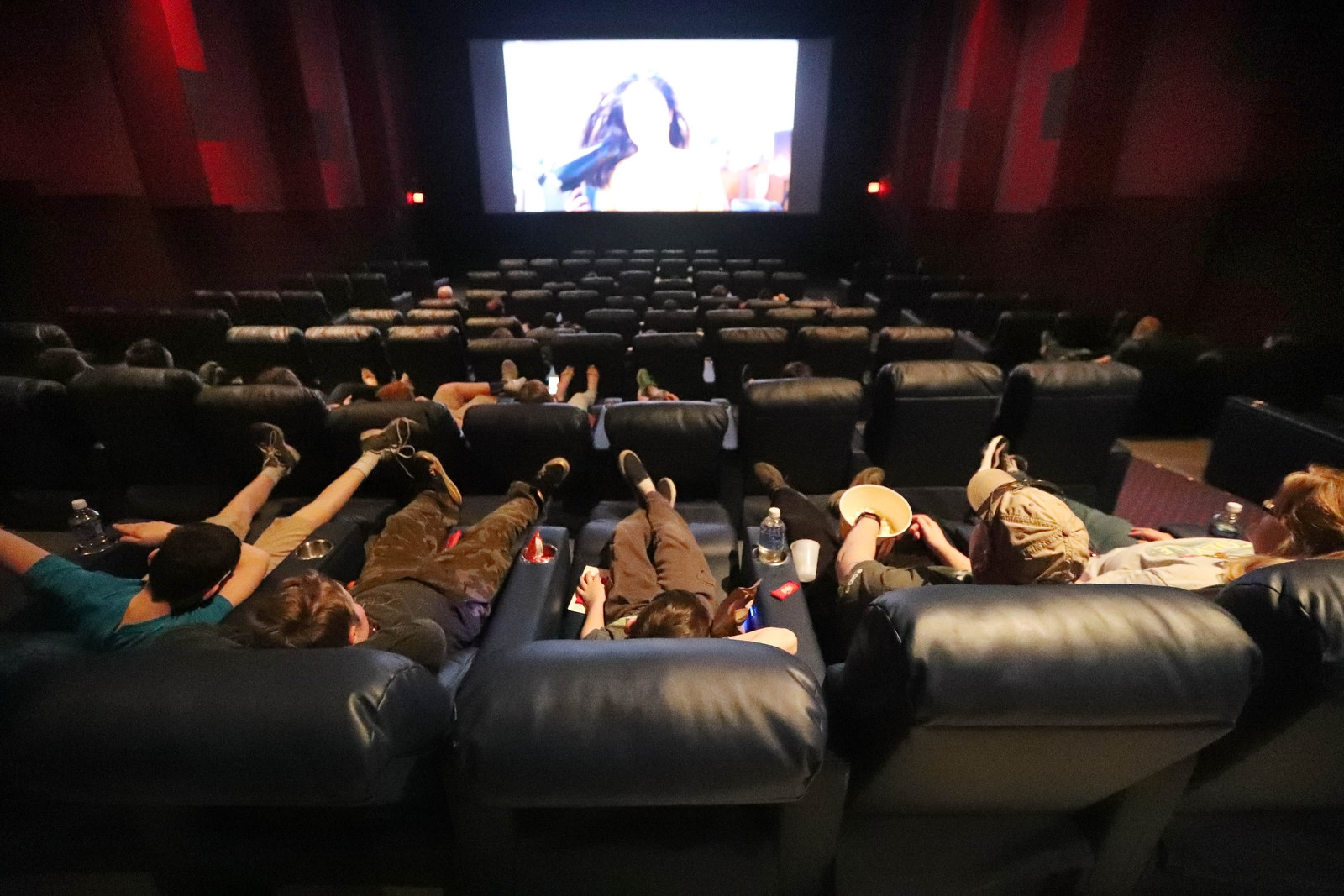 Recliner seats are an option at some local movie theaters. (Sharon Cantillon/Buffalo News)